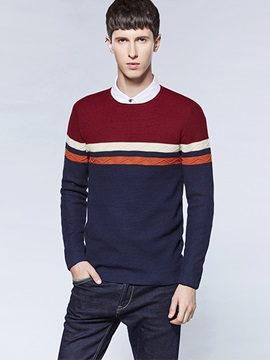 Color Block Round Neck Men's Simple Sweater
