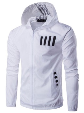 Zipper Hooded Color Block Men's Casual Thin Jacket