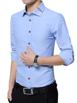 Stripe Cotton Blends Long Sleeve Men's Casual Shirt