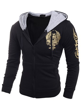 Zipper Chest Printed Men's Casual Hoodie