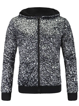 Zipper Leopard Printed Men's Casual Hoodie