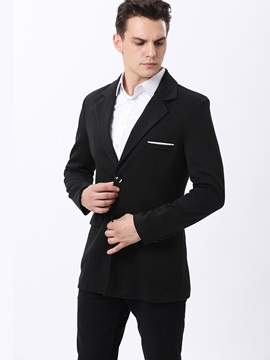 Double-Button Lapel Men's Plain Blazer