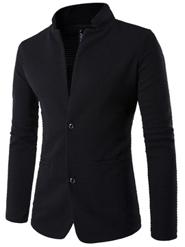 Stand Collar Solid Color Men's Double-Button Blazer