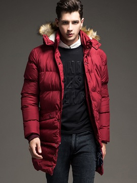 Plain Hooded Chest Embroidery Men's Long Pattern Down Jacket