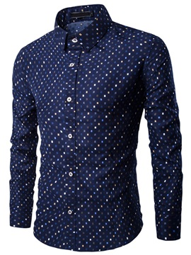 Plaid Pattern Men's Causal Long Sleeve Shirt