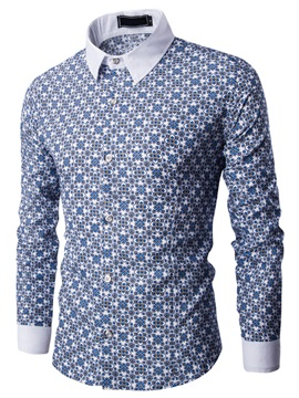 Floral Printed Cotton Blends Men's Causal Shirt