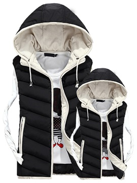 Hooded Zipper Casual Men's Down Vest