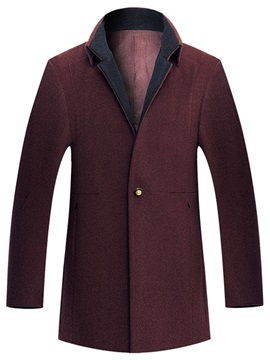 Single-Button Lapel Men's Fleece Coat