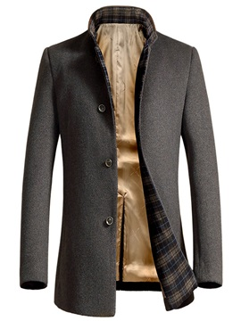 Plain Woolen Single-Breasted Men's Casual Coat