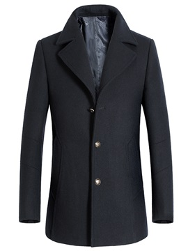 Lapel Single-Breasted Men's Long Pattern Coat