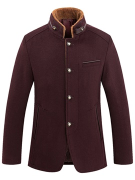 Stand Collar Fleece Men's Single-Breasted Coat