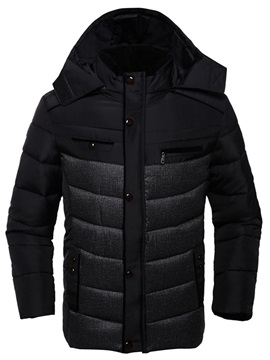 Patchwork Hooded Men's Causal Thicken Down Coat
