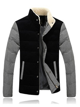 Patchwork Single-Breasted Men's Thicken Down Jacket