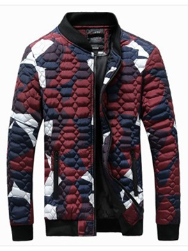 Vogue Contrast Color Men's Causal Down Jacket