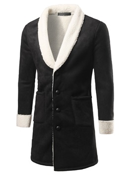 Fleece Single-Breasted Men's Thicken Coat