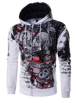 Vogue Cartoon Print Zip Men's Causal Hoodie