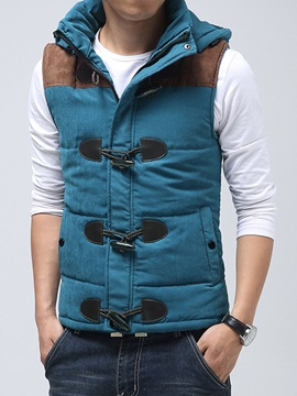 Horn Button Patchwork Men's Casual Thicken Vest