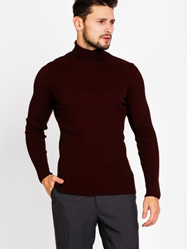 High Collar Pure Color Men's Casual Sweater