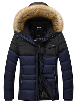 Chest Pocket Men's Causal Hooded Parka