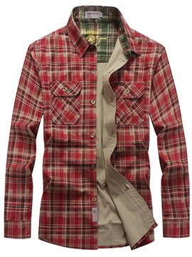 Plaid Single-Breasted Men's Casual Shirt