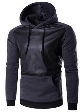 PU Patch Solid Color Men's Causal Hoodie