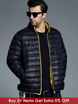 Color Block Zipper Warm Men's Causal Down Jacket