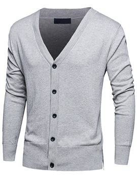 Single-Breasted V-Neck Men's Pure Color Sweater