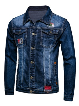 Chest Pocket Medium Wash Men's Single-Breasted Denim Jacket