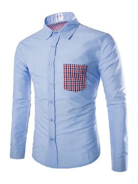 Plaid Leisure Patchwork Men's Casual Shirt