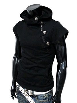 Men's Short Sleeve Hooded Collar Fleece Vests