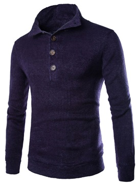 High Collar Neck Buttons Solid Color Men's Pullover Sweater