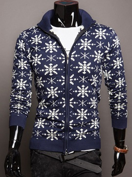Zipper Floral Printed Men's Casual Thicken Sweater