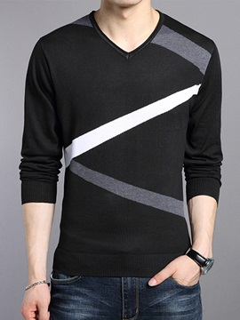 Heart-Shaped Neck Stripe Men's Slim Sweater