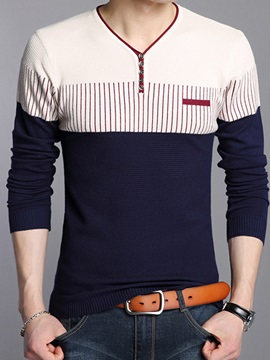 Heart-Shaped Neck Patchwork Men's Slim Sweater