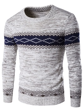 Floral Printed Color Block Men's Causal Crew Neck Sweater
