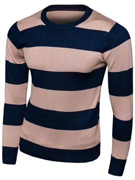 Bold Stripe Round Neck Men's Causal Sweater