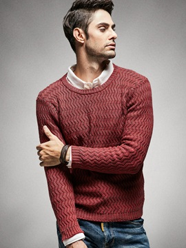 Solid Color Round Neck Men's Loose Fit Sweater