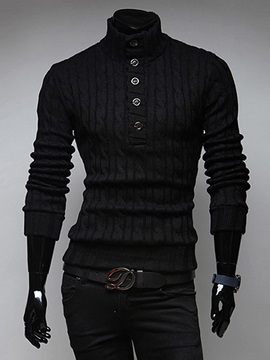 Turtleneck Buttons Men's Causal Sweater
