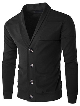 Single-Breasted V-Neck Men's Causal Sweater