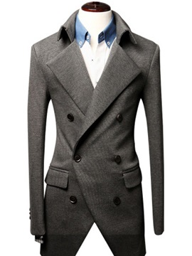 Solid Color Wide Lapel Double-Breasted Overcoat
