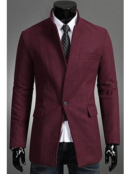 Stand Collar Single-Breasted Long Sleeve Overcoat