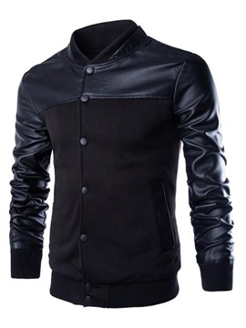 Slim-Fit Mandarin Collar Button-Front Men's Jacket