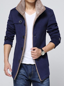 Men's High Collar Single-Breasted Flocking Wool Trench Coats