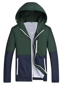 Men's Patchwork Zipper Up Hood Jackets