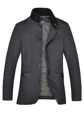 Men's Mid-Length Patchwork Slim Fit Woolen Blends Coatd
