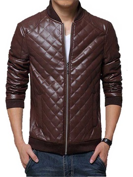 Men's Vogue Slim Fit Zipper Up PU Jackets