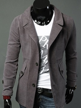 Two Buttons Notched Collar Men's Thicken Windbreaker