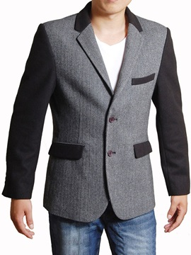 Notched Collar Single Buttons Men's Woolen Coat