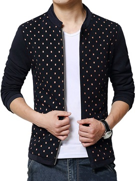 Peaked Lapel Dots Printed Men's Full-Zip Jacket