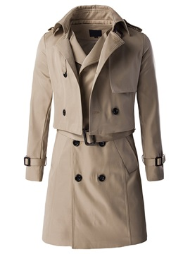 Double-Breasted Long Pattern Men's Two-Pieces Wind Coat